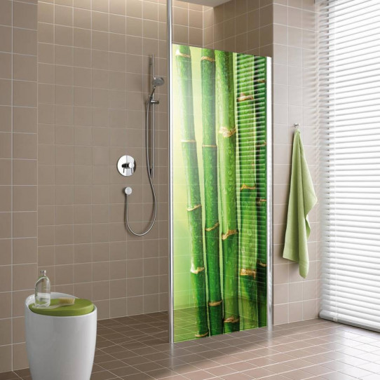 stickers paroi de douche semi translucide bambous 4 des. Black Bedroom Furniture Sets. Home Design Ideas