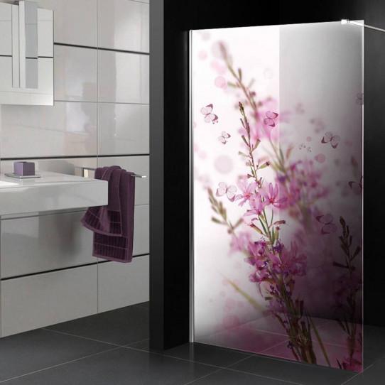 stickers paroi de douche semi translucide fleurs papillons des prix 50 moins cher qu 39 en magasin. Black Bedroom Furniture Sets. Home Design Ideas