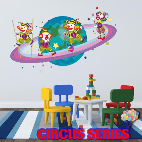 Autocollant Stickers muraux enfant kit 4 clowns