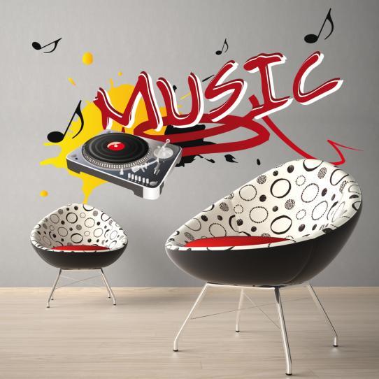 Autocollant Stickers mural ado platine musique