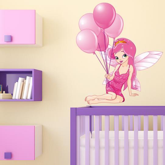 Autocollant Stickers mural enfant princesse ballon