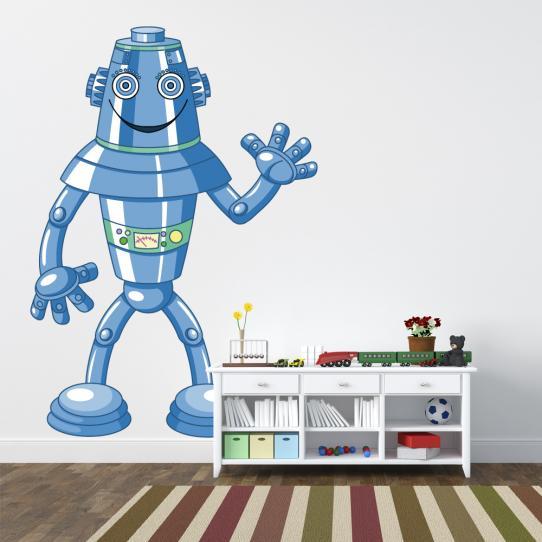 Autocollant Stickers mural enfant robot bleue
