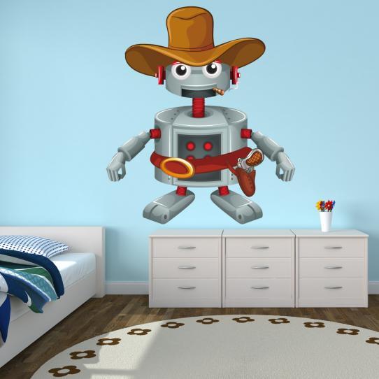 Autocollant Stickers mural enfant robot cowboy