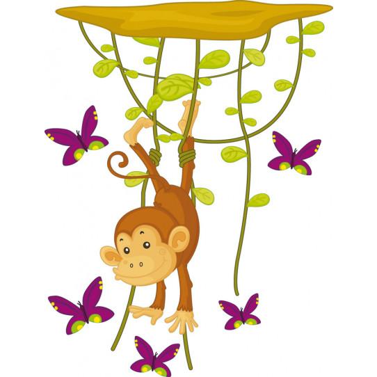 Autocollant Stickers enfant singe papillon