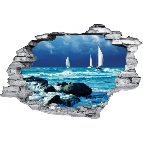 stickers trompe l 39 oeil 3d mer bateaux des prix 50 moins cher qu 39 en magasin. Black Bedroom Furniture Sets. Home Design Ideas