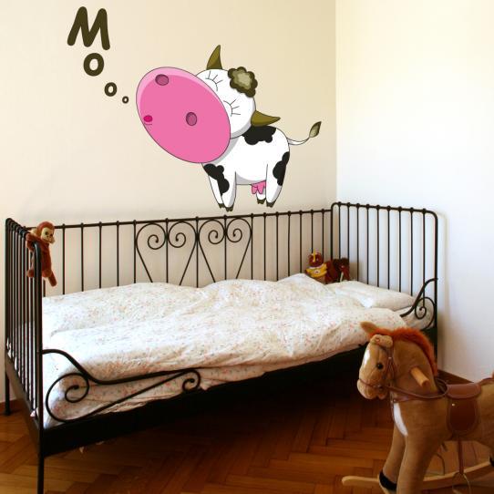 Autocollant Stickers muraux enfant vache mooo