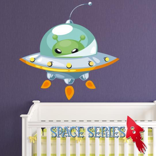 Autocollant Stickers muraux enfant vaisseau spatial