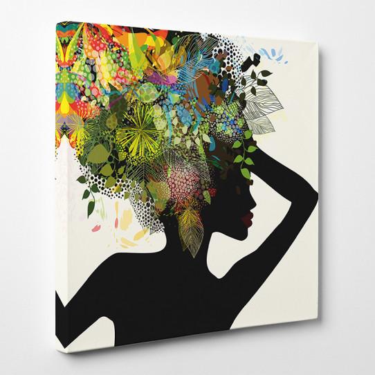 tableau toile femme africaine abstrait des prix 50 moins cher qu 39 en magasin. Black Bedroom Furniture Sets. Home Design Ideas