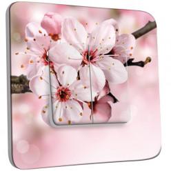 Interrupteur Décoré Double Va et Vient - Fleur de cerisier Zoom