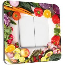 Interrupteur Décoré Double Va et Vient - Fruits et légumes 2