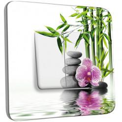 Interrupteur Décoré Double Va et Vient - Nature-Pierres,Bambou Fleur 2