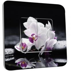Interrupteur Décoré Double Va et Vient - orchidées