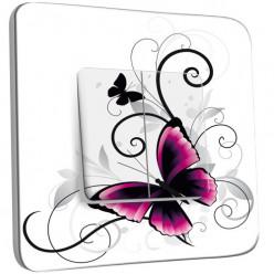 Interrupteur Décoré Double Va et Vient -  Papillon design white