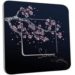 Interrupteur Décoré Poussoir - Branche de Cerisier Abstrait
