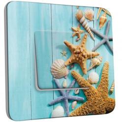 Interrupteur Décoré Poussoir - Coquillages Etoiles de mer