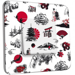 Interrupteur Décoré Poussoir - Motif Chinois Black&Red&White