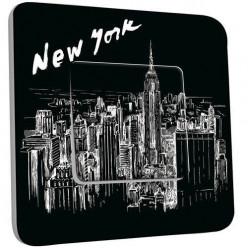 Interrupteur Décoré Poussoir - New York  Black&White 1