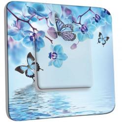 Interrupteur Décoré Poussoir - Orchidée Papillon Bleu