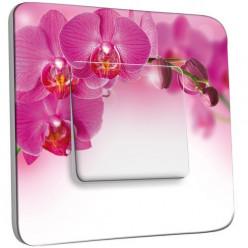 Interrupteur Décoré Poussoir - Orchidée Rose