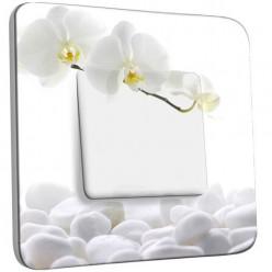 Interrupteur Décoré Poussoir - Orchidéés Blanches