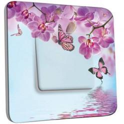 Interrupteur Décoré Poussoir - Papillon Orchidée 2