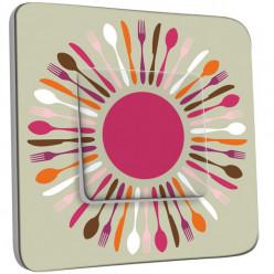 Interrupteur Décoré Simple - Cuisine Couverts Multicolores 1