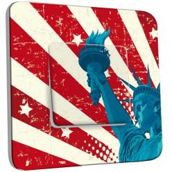 Interrupteur Décoré Simple - Motif Americain Statue de la Liberté