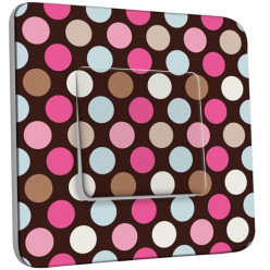 Interrupteur Décoré Simple - Pois Multicolores Fond Chocolat