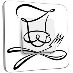 Interrupteur Décoré Simple Va et Vient - Couverts Black&White Design