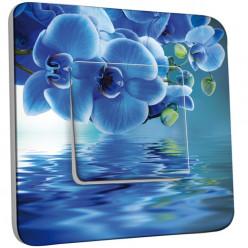 Interrupteur Décoré Simple Va et Vient - Fleurs Abstraits Bleus