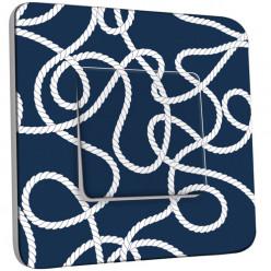 Interrupteur Décoré Simple Va et Vient - Motif Marin Bleu cordes 1