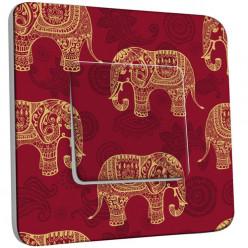 Interrupteur Décoré Simple Va et Vient - Motif Oriental Eléphants 1
