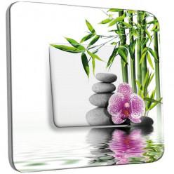 Interrupteur Décoré Simple Va et Vient - Nature-Pierres,Bambou Fleur 2