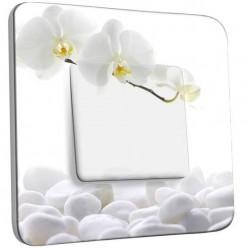 Interrupteur Décoré Simple Va et Vient - Orchidéés Blanches