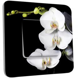 Interrupteur Décoré Simple Va et Vient - Orchidées Fond Noir