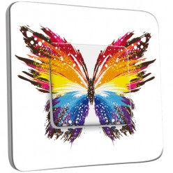 Interrupteur Décoré Simple Va et Vient - Papillon Multicoloré Design