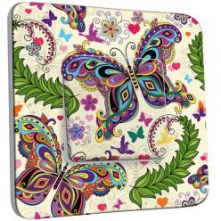 Interrupteur Décoré Simple Va et Vient - Papillons en couleur