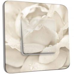 Interrupteur Décoré Simple Va et Vient - Pétales de Fleurs Blanc Zoom