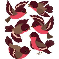 Kit 6 stickers oiseaux