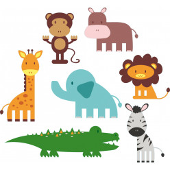 kit stickers 7 animaux