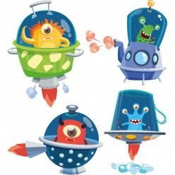Kit Stickers espace fusée