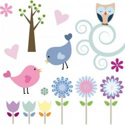 Kit Stickers fleurs oiseaux