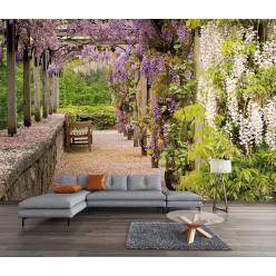 Papier peint jardin fleurs