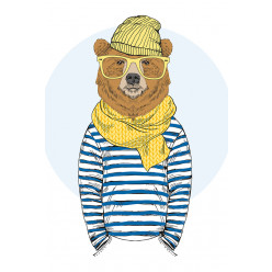 Poster - Affiche ours hipster