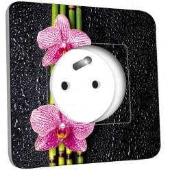 Prise décorée -  Bambou Orchidée
