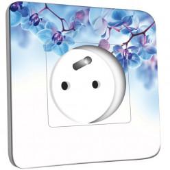 Prise décorée - Fleurs Bleus Fond Blanc
