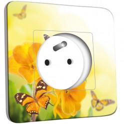 Prise décorée - Fleurs,Papillons Jaunes