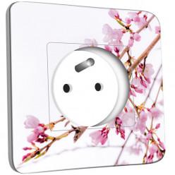 Prise décorée - Fleurs Roses Fond Blanc 3