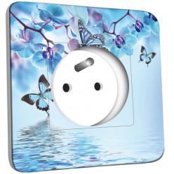 Prise décorée - Orchidée Papillon Bleu