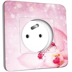 Prise décorée - Orchidée rose scintillante